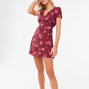 Fit and flare floral button down dress